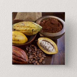 Cacao pod containing cacao beans which are 15 cm square badge