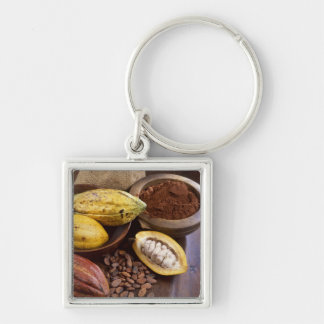 Cacao pod containing cacao beans which are key ring