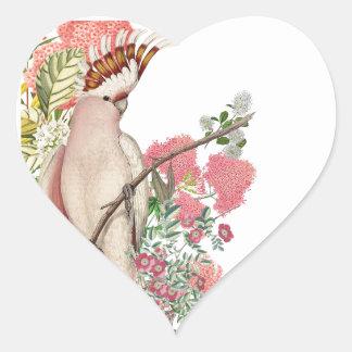 Cacatúa rosa sobre manto de flores calcomania de corazon personalizadas