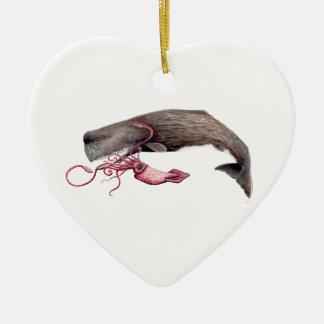 Cachalote and calamary ceramic heart decoration