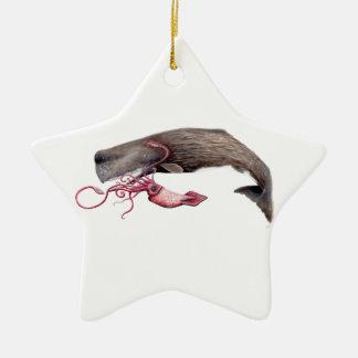 Cachalote and calamary ceramic star decoration