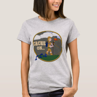 CACHE ON! GEOCACHING CHICK GIRL BLOND T-Shirt