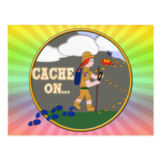 CACHE ON! GEOCACHING CHICK GIRL RED HAIR POSTCARD