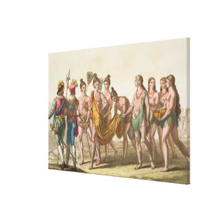 Caciche Ruler accompanied by his Wives (colour lit Canvas Print