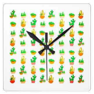 Cacti Festival Square Wall Clock