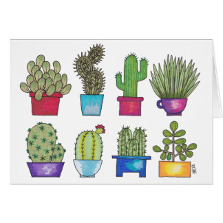 Cacti in Pots Card