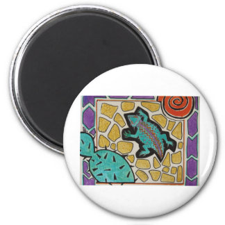 Cacti Lizard 6 Cm Round Magnet