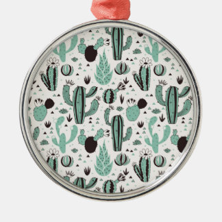 Cacti Silver-Colored Round Decoration