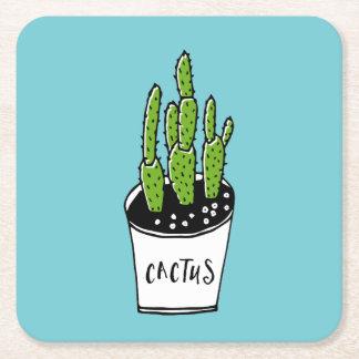Cactus 01 square paper coaster
