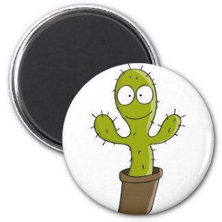 cactus 6 cm round magnet