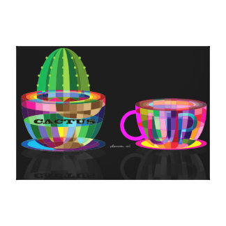cactus and cup canvas print
