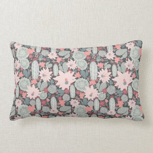 Cactus And Succulent Plants In Pinks Mint Pattern Lumbar Cushion