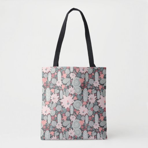 Cactus And Succulent Plants In Pinks Mint Pattern Tote Bag