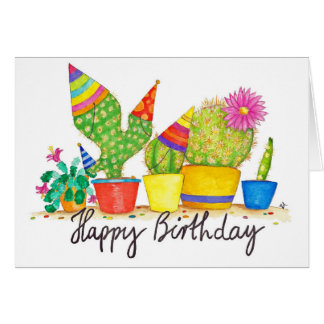 Cactus Birthday greeting card by Nicole Janes