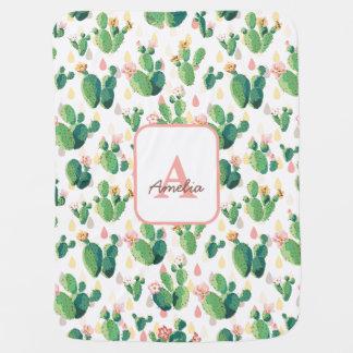 Cactus Bloom Floral Baby Girl Blanket Pramblanket