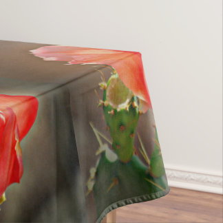 Cactus Bloom in Red Table Cloth