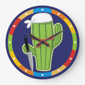 Cactus chef Mexican southwestern kitchen clock