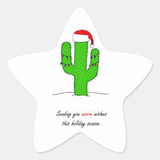Cactus Christmas Star Sticker