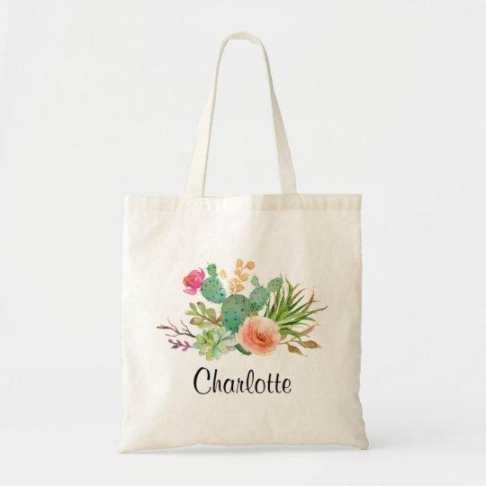 Cactus,Custom Name Wedding|Personalised Braidsmaid Tote Bag
