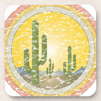 Cactus desert sunset coaster