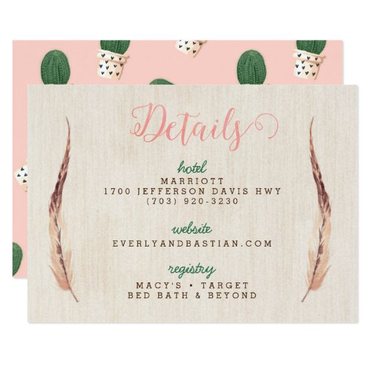 Cactus Desert Wedding Information Cards