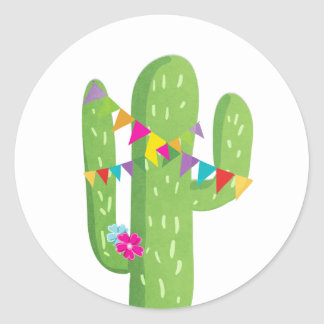 Cactus fiesta favor tag Sticker Mexican party