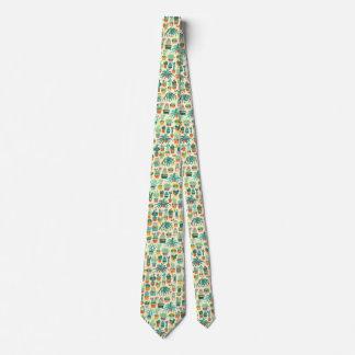 Cactus Flower Pattern Neck Tie