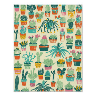 Cactus Flower Pattern Poster