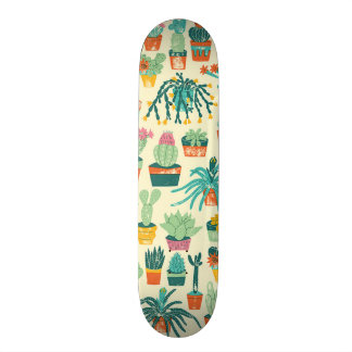Cactus Flower Pattern Skateboard Deck