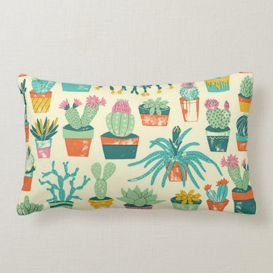 Cactus Flower Pattern Throw Pillow