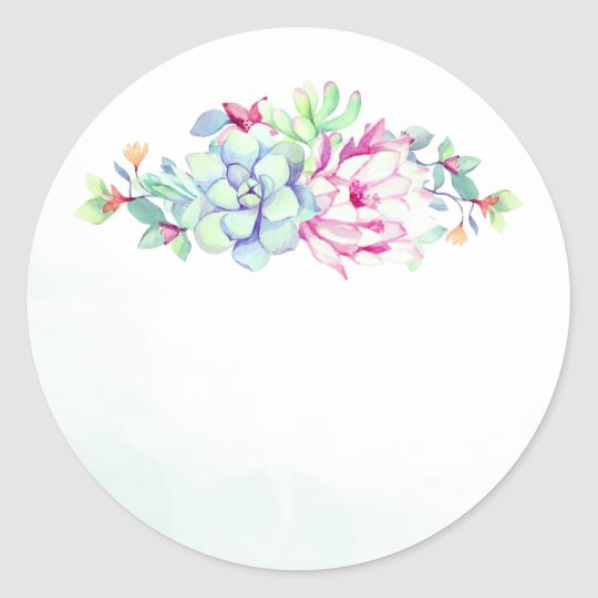 Cactus Flower & Succulents Wedding Favour Stickers