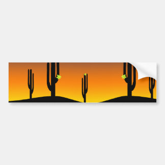 Cactus Flower Sunset Bumper Sticker