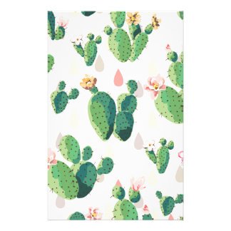 Cactus Flowers Customized Stationery