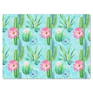 Cactus flowers pink blue green succulent tissue paper