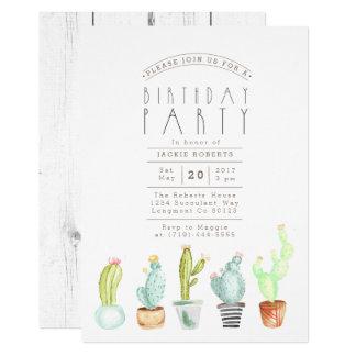 Cactus Garden | Watercolor Birthday Party Invite