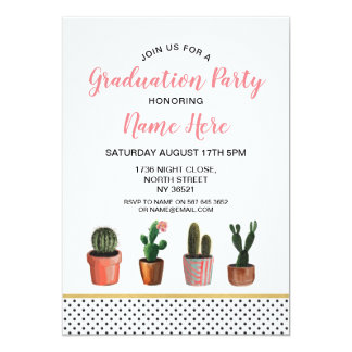 Cactus Graduation Party Gold Cactus Pretty Invite