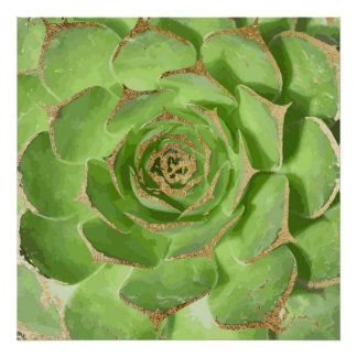 Cactus Green Succulent with Faux Gold Tips Poster