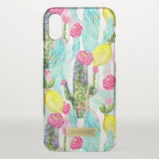Cactus & Lemon Pattern Girly Personalized iPhone X Case