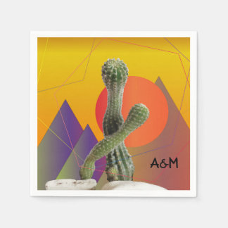Cactus Monogram  Napkins Disposable Napkin