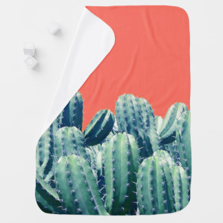 Cactus on Coral Baby Blanket