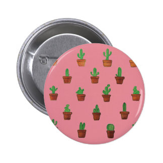 Cactus on Pink Background Button