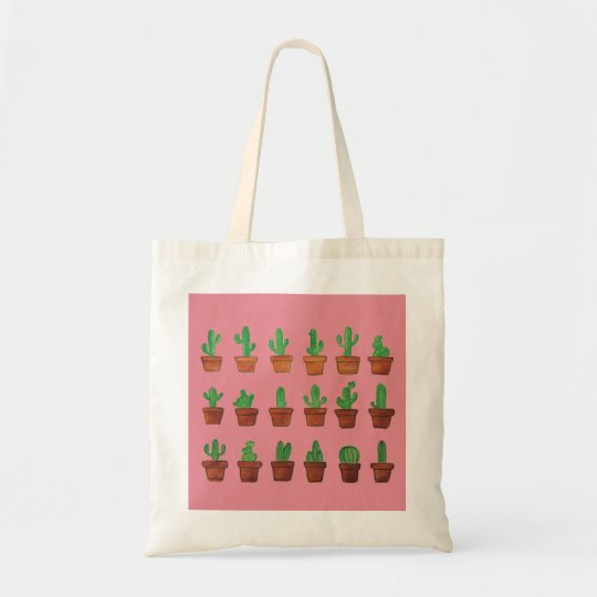 Cactus on Pink Background Tote Bag