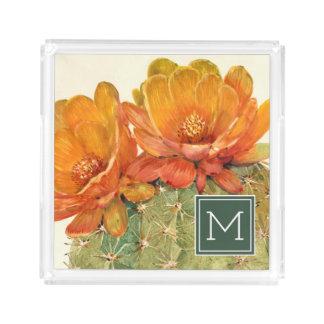 Cactus Orange Blossoms Acrylic Tray