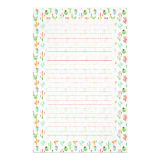 Cactus Pastel Watercolor Pattern Stationery