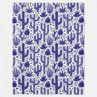 Cactus Pattern - Dark Blue and White Fleece Blanket
