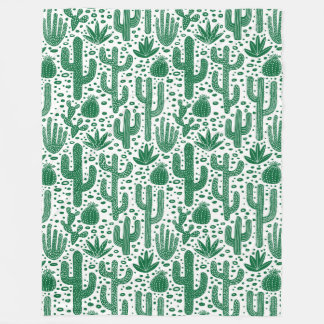 Cactus Pattern - Forest Green and White Fleece Blanket