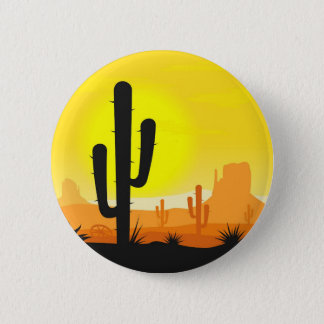 Cactus plants in desert 6 cm round badge