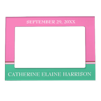 Cactus Pop Baby Announcement Personalized Magnetic Picture Frame