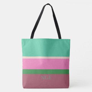 Cactus Pop Palette Stripes Monogram Tote Bag