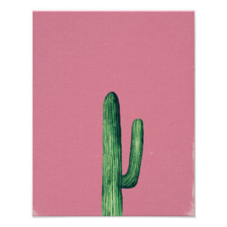 Cactus print. Plants on pink art illustration Poster